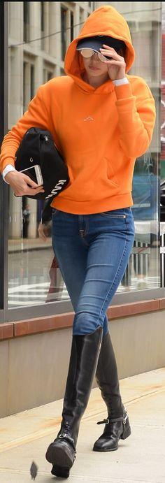 Gigi Hadid in Sweatshirt – Holzweiler Shirt – Rails Sunglasses – Le Specs Shoes – Ariat
