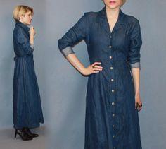 Maxi dress cotton denim shirt