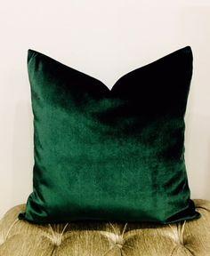 Luxury Dark Emerald Green Velvet Pillow CoverVelvet | Etsy Green Velvet Fabric, Green Velvet Pillow, Orange Pillows, Velvet Cushions, Emerald Green Curtains, Emerald Green Decor, Slytherin, Green Pillow Covers, Pillow Cover Design