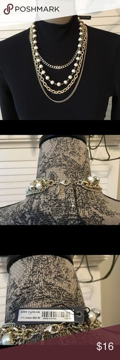 Multi-Strand Necklace with Gold/Pearls. This multi-strand necklace from Ann Taylor is new with tags. It is very pretty with the mix of gold & pearls. Ann Taylor Jewelry Necklaces