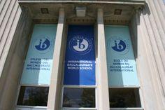 IB Banner in Front of School