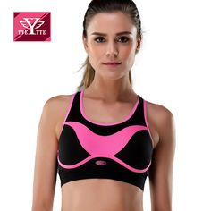 fdcf05a68ba Yvette High Impact 2016 Autumn New Arrival Novelty Design Fitness Wear Bra  Black Contrast Pink Cut Out Back Wireless Bras-in Bras from Women s  Clothing ...