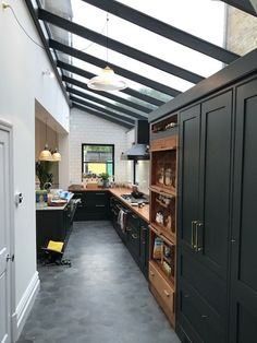 Bespoke rectangular roof lantern sits above a dining area. – – Jack Roofing Tips Bespoke rectangular roof lantern sits above a dining area. – Bespoke rectangular roof lantern sits above a dining area. Roof Lantern, Open Plan Kitchen, Home Kitchens, Home, Industrial Interior Design, Kitchen Remodel, Modern Kitchen Design, Industrial Kitchen Design, Kitchen Extension