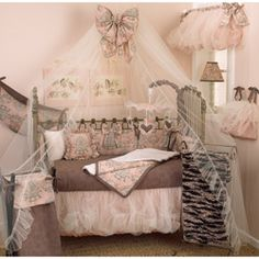 @Overstock - Complete the look of your nursery with this adorable Nightingale 4-piece crib bedding set from Cotton Tale. The crib bedding set includes the bumper, fitted crib sheet, coverlet, and dust ruffle in a lovely pink, white and brown color palette.http://www.overstock.com/Baby/Cotton-Tale-Nightingale-4-piece-Crib-Bedding-Set/6657857/product.html?CID=214117 $189.99
