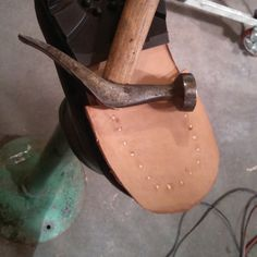 Resoled my boots and building up the heels with stacked leather. #traditional construction with wooden pegs. Not just faux look.  #antique #french #shoehammer one of my favorite tools. Very well balanced. It's always about being in balance.