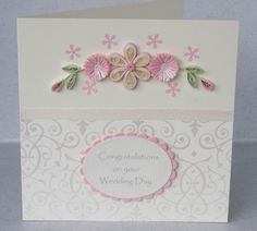 Wedding congratulations card, handmade greeting, quilled paper. £5.00, via Etsy.
