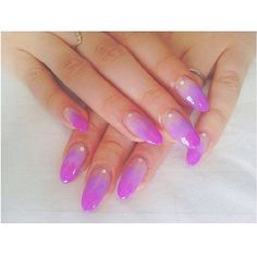 Clear to purple ombre nails