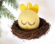 Christmas Ornament Needle Felted Bird in a Nest Felt by Fairyfolk