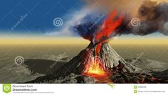Illustration about An active volcano belches smoke and molten red lava in an eruption. Illustration of lava, rift, illustration - 20888338 Volcano Types, Volcan Eruption, Shield Volcano, Santa Helena, Ville New York, Earth Surface, Spiegel Online, Lava Flow, Active Volcano