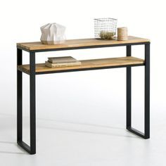 HIBA Solid Oak and Steel Console Table LA REDOUTE INTERIEURS . Inspired by industrial furniture of yesteryear. You will love the clean lines and the aged, vintage look that's bang. Steel Furniture, Home Furniture, Modern Furniture, Furniture Ideas, Console Furniture, Furniture Dolly, Upcycled Furniture, Office Furniture, Bedroom Furniture