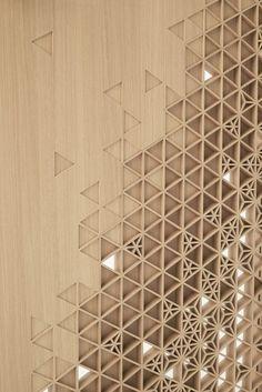 Inspiracion celosia ceramica Seven Doors Nendo repense la porte pour Abe Kogyo: