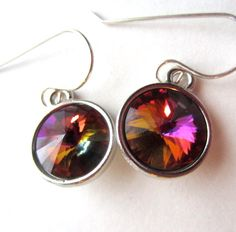 Volcano Crystal Earrings Sterling Silver by lcatlla on Etsy, $22.00