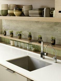 frische küchenrückwand ideen - aus bedrucktem Beton in Holzoptik