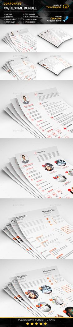 3 Page Business Resume with 3 Color Combinations Business resume - business resume