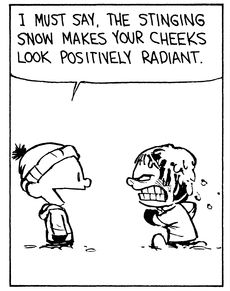 """Calvin and Hobbes QUOTE OF THE DAY (DA): """"I must say, the stinging snow makes your cheeks look positively radiant."""" -- Calvin/Bill Watterson"""