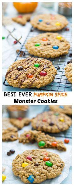 These Pumpkin Spice Monster Cookies are chewy on the inside and crisp on the edges. Filled with peanut butter chips, pumpkin spice M & M's and lots of oatmeal. These are sure to have a short life in the cookie jar!