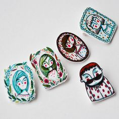 brooch shrink plastic pin  girl by ireneagh on Etsy, €10.00