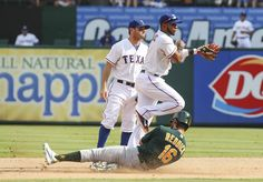 CrowdCam Hot Shot: Texas Rangers shortstop Elvis Andrus completes a double play as Oakland Athletics right fielder Josh Reddick slides into second base during the game at Rangers Ballpark in Arlington. Photo by Kevin Jairaj