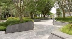 Zelkova Public Realm — Landworks Studio, Inc. Landscape Architecture Design, Landscape Walls, Urban Landscape, Plaza Design, Paving Design, Urban Nature, Public Realm, Urban Furniture, Parcs