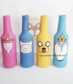 Images and videos of adventure time Geek Decor, Art Decor, Decoration, Bottle Painting, Bottle Art, Adventure Time Parties, Diy Tumblr, Ideias Diy, Posca