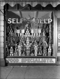 """""""This display in a Self Help store was probably in Willis St, Wellington, around 1926. Self Help was a chain of grocery stores that began in Wellington and spread around the country. They were not self-service stores, but offered cheaper prices and no credit."""" #1920s #vintage #supermarket #shopping"""
