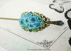 pink rose hair stick hair accessories  bronze by Joyloveclay, $32.00