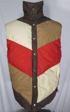 Vintage Mens Down Ski Vest Reversible Multi-Color and Brown Size M #Unknown #Vest