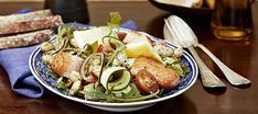 Sitruunainen lohisalaatti Pasta Salad, Cobb Salad, Meat, Chicken, Ethnic Recipes, Food, Crab Pasta Salad, Meals, Noodle Salads