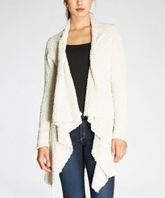 Another great find on #zulily! Natural Popcorn-Knit Flyaway Cardigan #zulilyfinds