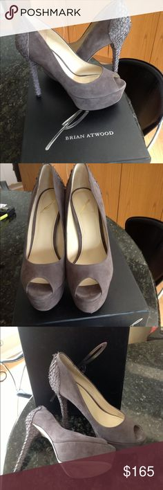 """Brian Atwood shoes  size 8-1/2 Brian Atwood grey swede  shoes  size 8-1/2 ,platform measures 1-1/5"""" and the heels are5"""" high , gorgeous shoe worn ones , in perfect condition, great with jeans or any other outfit:) B Brian Atwood Shoes Platforms"""