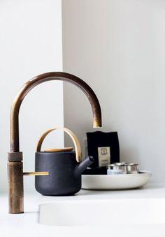 Brass faucet Kitchen, ideas, diy, house, indoor, organization, home, design, cook, shelving, backsplash, oven, desk, decorating, bar, storage, table, interior, modern, life hack.