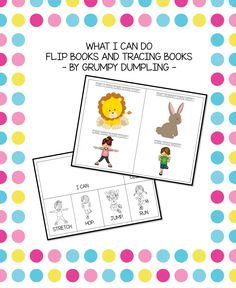 """What I Can Do Flip Books and Tracing Books (""""Can"""" and other verbs)  The product contains 11 pages with flip books and tracing books (color and b&w, lowercase and uppercase letters) that will help kids learn the modal verb """"can"""" and other verbs: climb, stretch, hop, jump, run."""