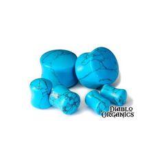 double flared organic turquoise plugs