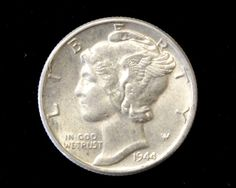 1944 Mercury Dime! 90% Silver!  Average Circulated Condition. Starting at $1