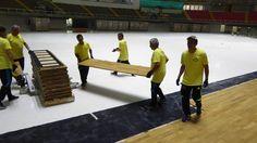 Installation portable sports floor for Futsal Made in Italy Dalla Riva…