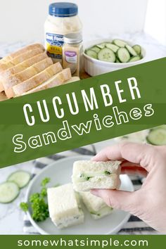 Tasty cucumber sandwiches are a fancy little finger food that tastes refreshing and delicious! They're perfect for tea parties, luncheons, and picnics, and they could not be any easier to make! Cucumber Sandwiches, Finger Foods, Tea Party, Picnic, Crafts For Kids, Good Food, Dairy, Organic, Treats