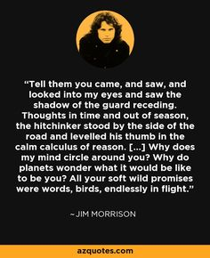 "Jim Morrison, ""The Hitchhiker"", ""Tell them you came, and saw, and looked into my eyes and saw the shadow of the guard receding. Thoughts in time and out of season."" #jimmorrisonthehtichhiker #jimmorrisonpoetry #jimmorrison #thedoors"