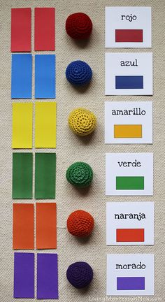 Color Tablets, Yarn Balls, and Spanish Colors Layout by Deb Chitwood, via Flickr