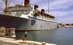 35mm Color Slide Queen of Bermuda Cruise Ship 1961 Kodachrome Docked