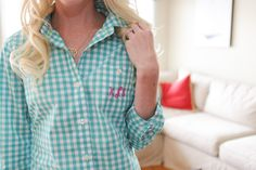 Monogrammed shirt, perfect for getting ready on the morning of the wedding