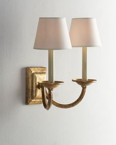 """#HORCHOW Add elegant simplicity with the Double Arm """"Flemished"""" Sconce by VISUAL COMFORT at Horchow."""