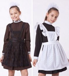 Russian school uniform, 1990s. A casual variant – with a black pinafore and a festive one for special occasions – with a white pinafore. #education