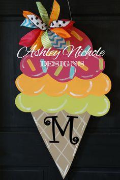 Ice Cream Cone Wooden Door Hanger, Door Decoration, Spring & Summer Decor on Etsy, $55.00