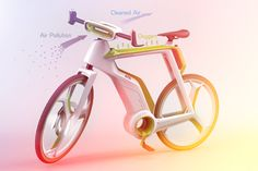 The Air-Purifier bike concept, by Silawat Virakul, Torsakul Kosaikul and Suvaroj Poosrivongvanid, filter the city's polluted air and generates oxygen. The Air-Purifier concept features an air filter… Velo Design, Bicycle Design, Photosynthesis, Cool Inventions, Air Pollution, Air Purifier, Cool Bikes, Innovation, Cool Stuff