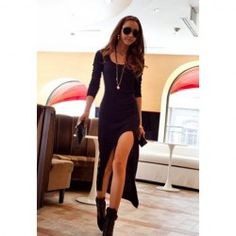 $8.32 Casual Scoop Neck Long Sleeve Solid Color Asymmetrical Hem Dress For Women