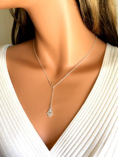 Hamsa Infinity Necklace Women Girls Y Style by divinitycollection
