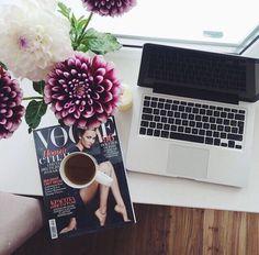 Tea , magazine , beautiful flowers