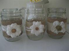 3 Burlap, lace and button Mason jars, wedding candles, vases, wedding centerpieces