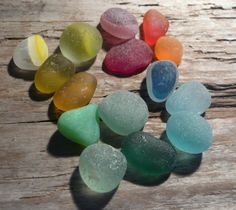 A rainbow of tiny pieces of English sea glass by jazomir on Etsy, $30.00