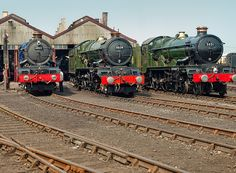 Great Western Railway steam locomotives 6023 'King Edward II', 6024 'King Edward I', and 5051 'Earl Bathurst' at Didcot Railway Centre by Anguskirk, Steam Trains Uk, Old Steam Train, Heritage Railway, Train Pictures, Art Pictures, Steam Railway, Hobby Trains, Train Art, British Rail